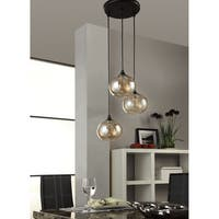 Uptown Metal/Glass Amber Globe 3-light Cluster Pendant