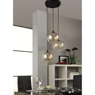 uptown 3light amber globe cluster pendant
