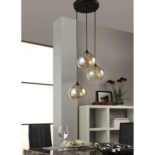 Shop Uptown Metal/Glass Amber Globe 3-light Cluster Pendant - Free ...