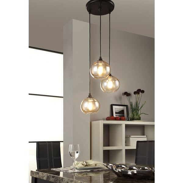 Uptown 3 light amber globe cluster pendant free shipping for Dining room 3 pendant lights