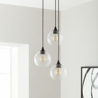 Uptown 3 Light Clear Globe Cer Pendant