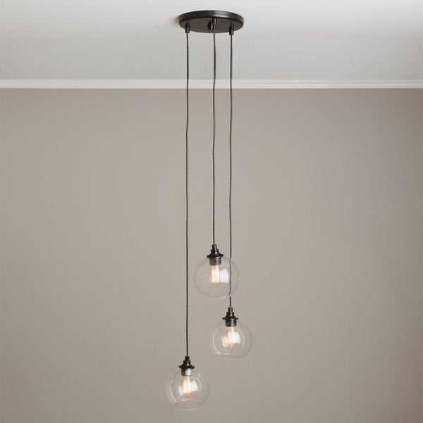 Uptown 3 Light Clear Globe Cluster Pendant Free Shipping