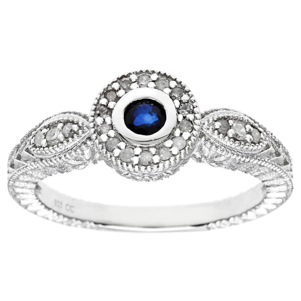 Viducci Sterling Silver Sapphire and 1/6ct Diamond Ring (G-H, I1-I2)