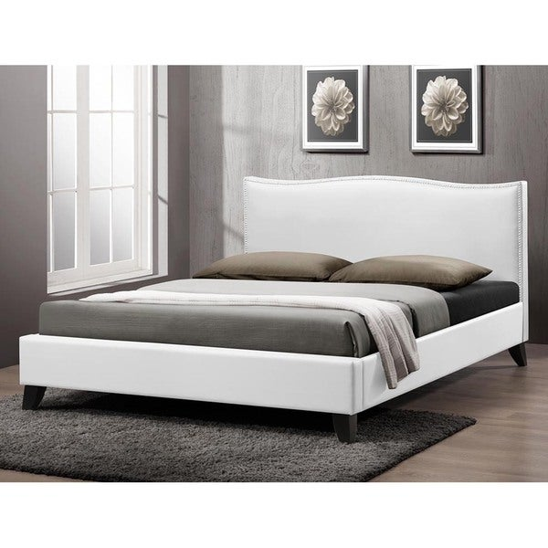 Battersby White Modern Bed with Upholstered Headboard. Battersby White Modern Bed with Upholstered Headboard   Free