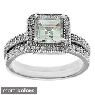 Viducci Sterling 1/3ct TDW Diamond Silver and Gemstone Ring Set (G-H, I1)