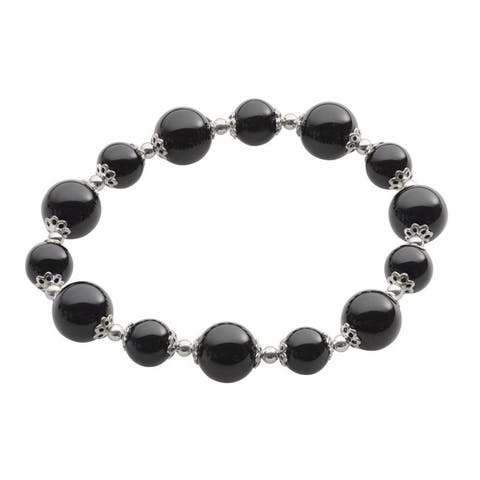 Gems For You Sterling Silver Black Onyx and Silver Bead Stretch Bracelet