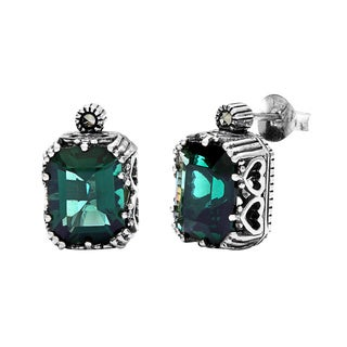 MARC Sterling Silver Marcasite & Green Synthetic Quartz Stud Earrings