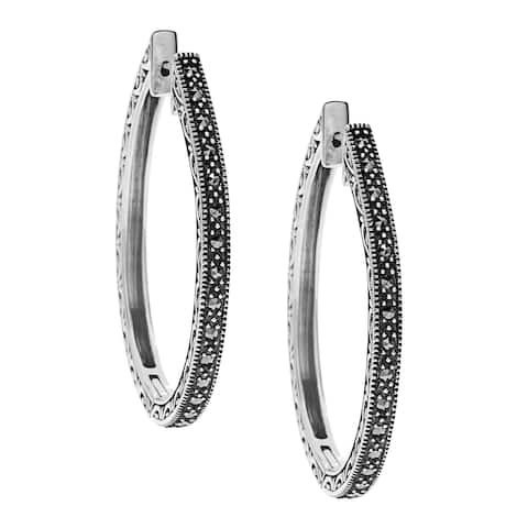 MARC Sterling Silver Oval Hoop Marcasite Earrings