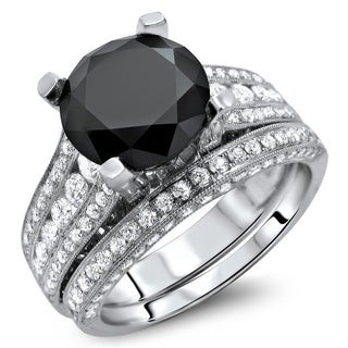 Noori 18k White Gold 4 3/5ct TDW Certified Black and White Round-cut Diamond Bridal Set