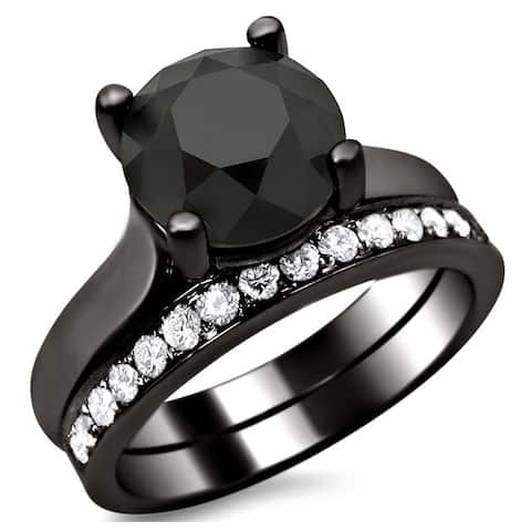 14k Black Gold 3ct Certified Black and White Round Diamond Bridal Set