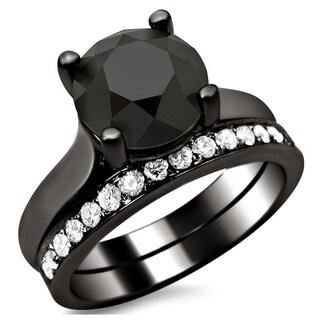 Noori 14k Black Gold 3ct Certified Black and White Round Diamond Bridal Set
