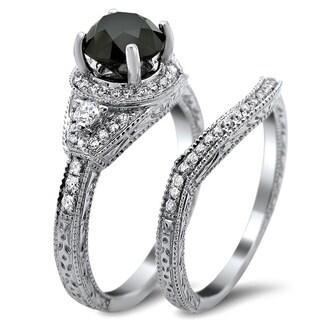 Noori 14k White Gold 2ct TDW Certified Black and White Round Diamond Bridal Set (G-H, SI1-SI2)