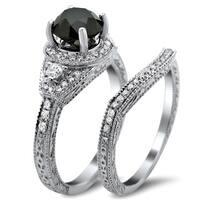 Noori 14k White Gold 2ct TDW Certified Black and White Round Diamond Bridal Set