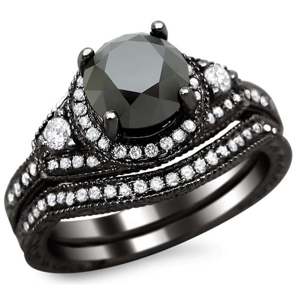 Noori 14k Black Gold 2ct TDW Black and White Round Diamond Bridal Set