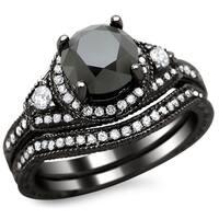 Noori 14k Black Gold 2ct TDW Certified Black and White Round Diamond Bridal Set