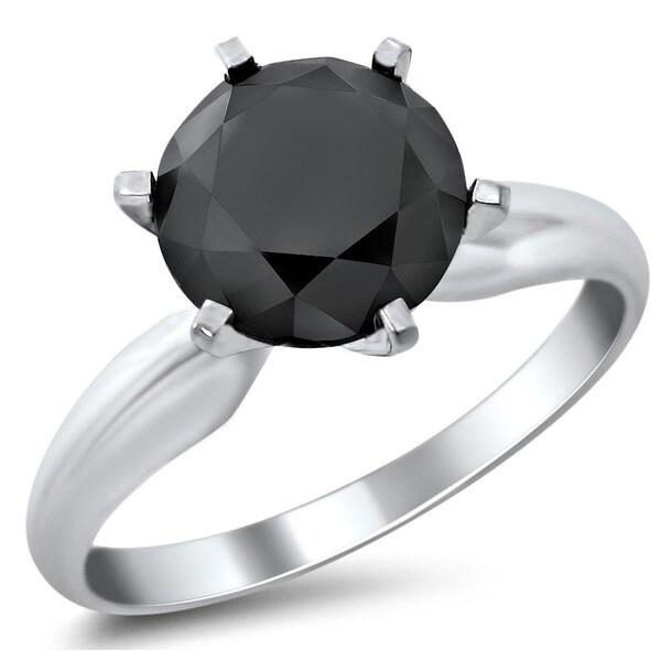 Noori 14k White Gold 2 1/3ct Certified Six Prong Black Round Diamond Solitaire Ring