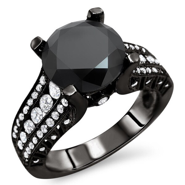 Noori 18k Black Gold 3 7/8ct TDW Certified Black and White Diamond Ring