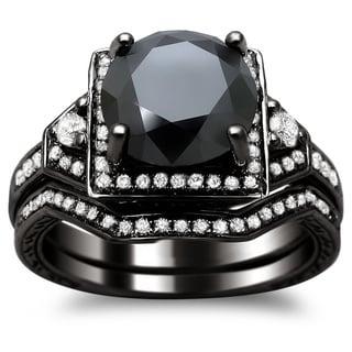 Link to 14k Black Gold 3ct TDW Certified Black and White Round Diamond Bridal Set Similar Items in Wedding Rings