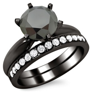 Noori 14k Black Gold 2 1/2ct Certified Six Prong Black Round Diamond Bridal Set