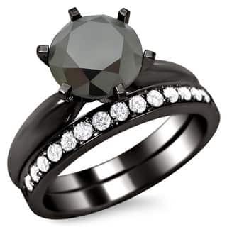 Noori 14k Black Gold 2 1/2ct Certified Six Prong Black Round Diamond Bridal Set|https://ak1.ostkcdn.com/images/products/8617729/14k-Black-Gold-2-1-2ct-Certified-Six-Prong-Black-Round-Diamond-Bridal-Set-F-G-VS1-VS2-P15884465.jpg?impolicy=medium