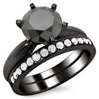 Noori 14k Black Gold 2 1/2ct Certified Six Prong Black Round Diamond Bridal Set