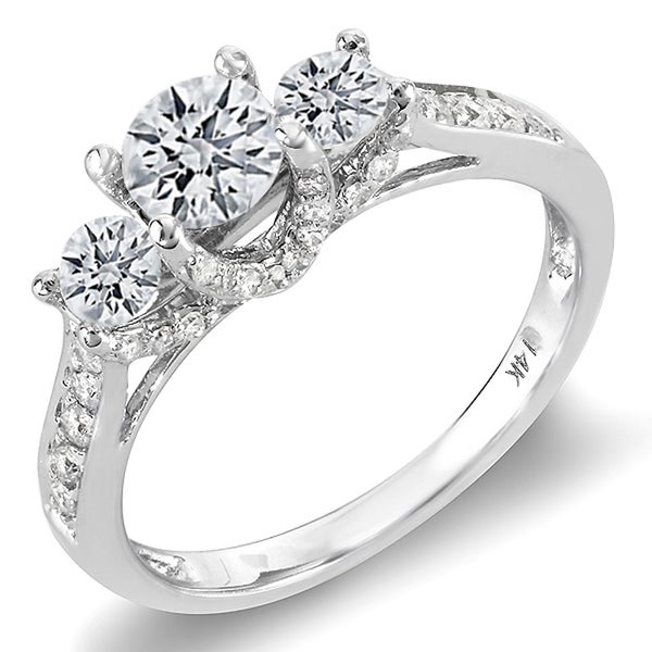 Elora 14k White Gold 1ct TDW Three stone Round Diamond Engagement