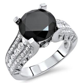 Noori 18k White Gold 3 7/8ct TDW CertifiedBlack Round Diamond Engagement Ring