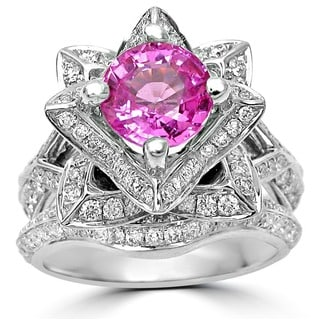 Noori 14k White Gold 2 1/3ct TGW Certified Round Pink Sapphire Lotus Flower Diamond Engagement Ring (G, SI-1)