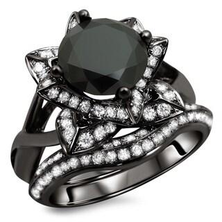 Noori 14k Black Gold 3ct TDW Certified Black Round Diamond Lotus Flower Ring Set