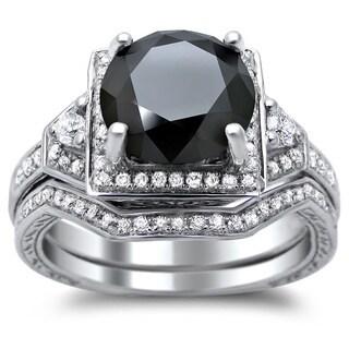 Link to 14k White Gold 3ct TDW Certified Black and White Round Diamond Bridal Set Similar Items in Wedding Rings