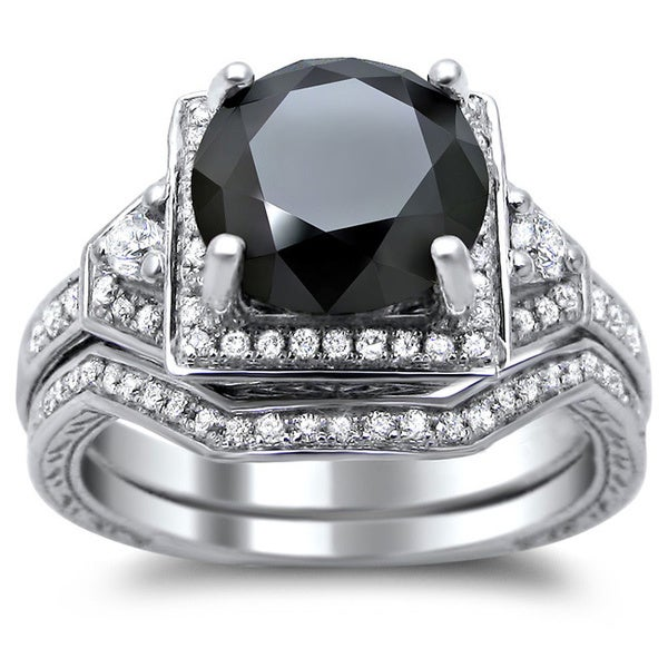 14k White Gold 3ct TDW Certified Black and White Round Diamond Bridal Set. Opens flyout.