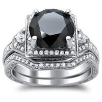 Noori 14k White Gold 3ct TDW Certified Black and White Round Diamond Bridal Set