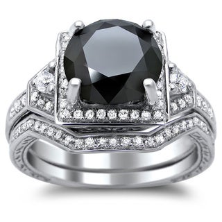 Noori 14k White Gold 3ct TDW Certified Black and White Round Diamond Bridal Set