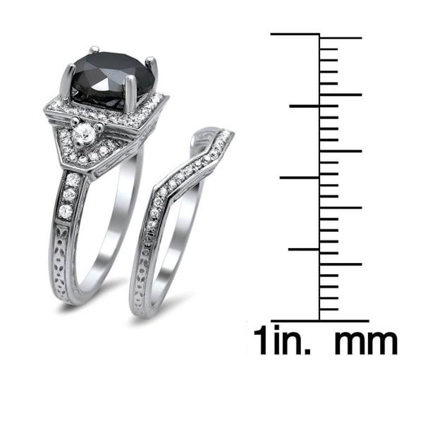 14k White Gold 3ct TDW Certified Black and White Round Diamond Bridal Set