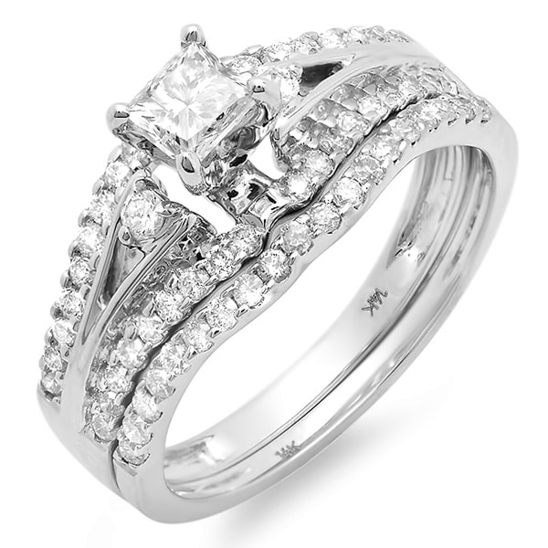 Elora 14k Gold 1 1/6ct TDW Princess Center Diamond Bridal Set