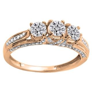 14k Gold 1ct TDW Round Diamond 3-stone Engagement Ring (H-I, I1-I2)
