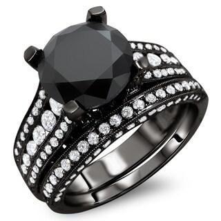Noori 18k Black Gold 4 3/5ct TDW Certified Black and White Round Diamond Bridal Set