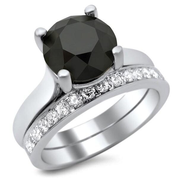 Noori 14k White Gold 3ct Certified Black and White Diamond Solitaire Bridal Set