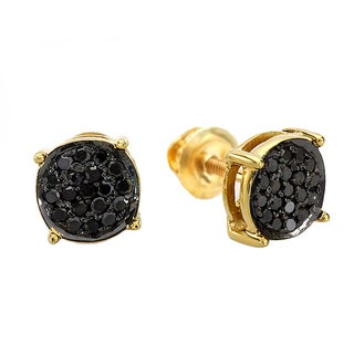18K Gold over Silver 1/4ct TDW Black Diamond Pave Stud Earrings