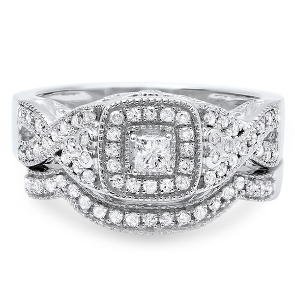 14k White Gold 3/5ct TDW Princess Cut Braided Diamond Bridal Set (H-I, I1-I2)