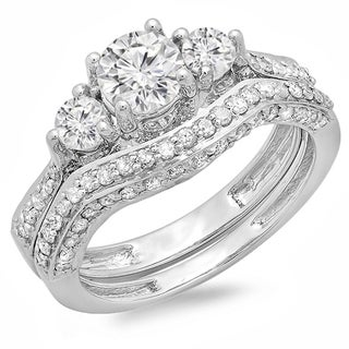 Elora 14k White Gold 1 3/4ct TDW Round Diamond Three-Stone Bridal Set (H-I, I1-I2)