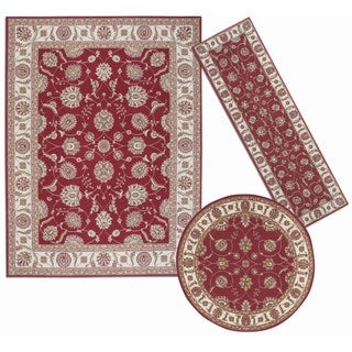 Persian Floral Collection Rust Indoor Rugs (Set of 3)