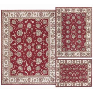 Persian Floral Collection Rust Rugs (Set of 3)