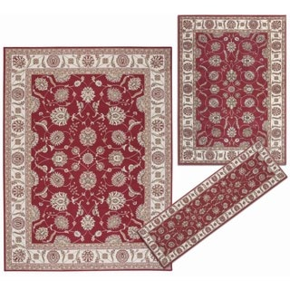 Traditional Persian Floral Collection Rust Rugs (Set of 3)