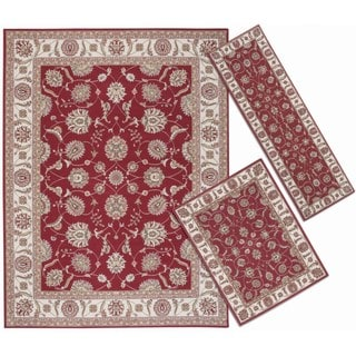 Persian Floral-pattern Collection Rust Rugs (Set of 3)
