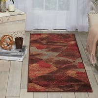 Somerset Abstract Design Chocolate/ Multi Runner Rug (2' x 5'9) - 2' x 5'9