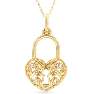 14k Yellow Gold Diamond Accent Pad-Lock Necklace