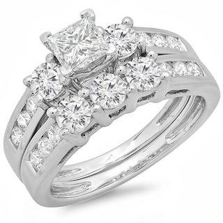 14k White Gold 2ct TDW Diamond Bridal Set (J-K, I1-I2)