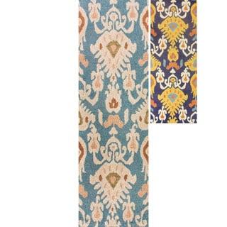 nuLOOM Handmade Ikat Blue Wool Runner Rug (2'6 x 8')