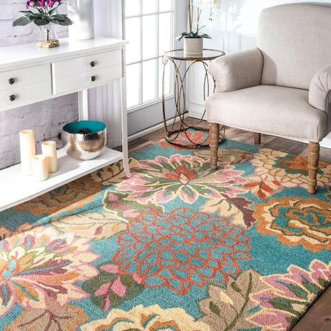 nuLOOM Blue Handmade Bold Floral Wool Area Rug